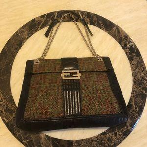 Auth FENDI Leather/Canvas Studded Maxi Chain Bag